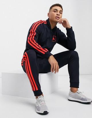 adidas 3-stripe PIQU track jacket in legend ink