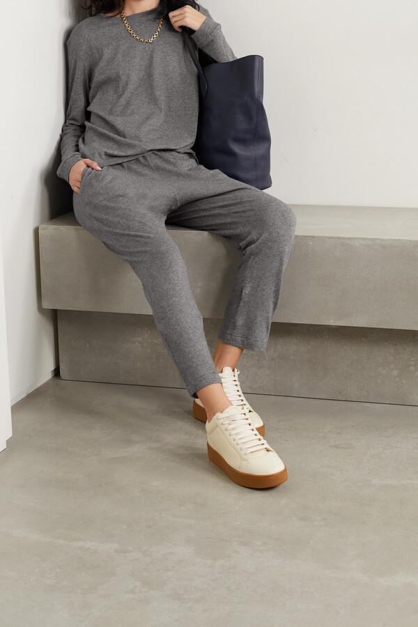 Thumbnail for your product : FRANCES DE LOURDES Bailey Cotton And Cashmere-blend Track Pants - Gray