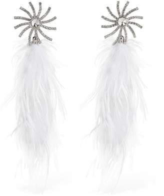 Alessandra Rich Crystal Star Clip-on Earrings W/feathers