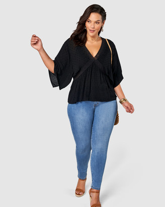 The Poetic Gypsy - Women's Black Shirts & Blouses - Night Shade V Neck Blouse - Size One Size, 12 at The Iconic
