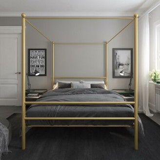 Lolington Canopy Bed Greyleigh Color: White, Size: Queen