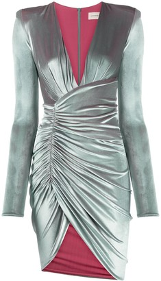 Alexandre Vauthier Velvet Bodycon Wrap Dress