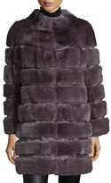 Belle Fare Horizontal Ribbed Rex Rabbit Fur Coat