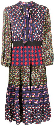 Alice + Olivia Karolina mixed print dress