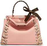 Fendi Peekaboo Medium Jacquard-trimmed Leather Tote - Blush