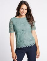 Marks and Spencer Crochet Lace Short Sleeve T-Shirt