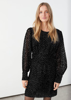 And other stories Sheer Leopard Jacquard Mini Dress