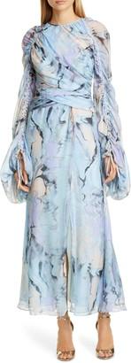 Flor Et. Al Arandas Long Sleeve Silk Chiffon Gown