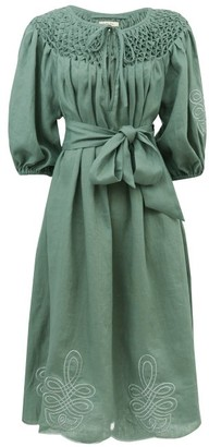 Innika Choo Hugh Jesmok Embroidered Linen Dress - Green