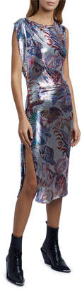 Paco Rabanne Floral-Print Bodycon Mesh Dress