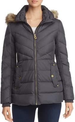 MICHAEL Michael Kors Faux Fur-Trim Short Down Coat