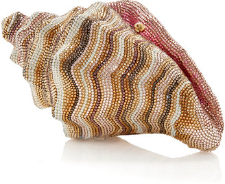 Judith Leiber Conch Shell Crystal-Embellished Clutch Bag, Champagne