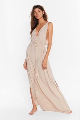 Nasty Gal Womens Plunging V-Neckline Cover-Up Maxi Dress - Stone