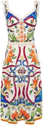 Dolce & Gabbana Lace-trimmed Cotton-blend Jacquard Midi Dress