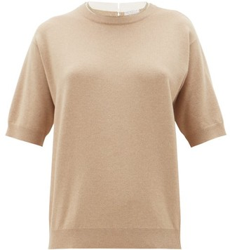 Brunello Cucinelli Monili Trim Cashmere, Wool And Silk Sweater - Womens - Beige