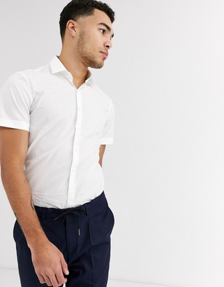 Calvin Klein poplin stretch slim short sleeve shirt