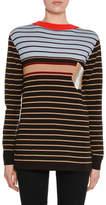 Marni Crewneck Long-Sleeve Striped Wool-Knit Sweater w/ Pocket Detail