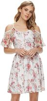 Disney Disney's Beauty and the Beast Juniors' Floral Lace Cold-Shoulder Dress