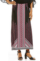 I.N. Studio Placement Border Print Pull-On A-Line Skirt