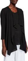 Caroline Rose Gauze Knit Draped Open-Front Cardigan
