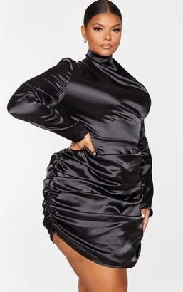 PrettyLittleThing Plus Black Satin High Neck Ruched Skirt Bodycon Dress