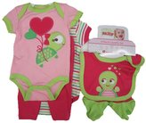 Nuby Buster Brown Baby Girls Turtle Striped Onesie 5 Pc Layette Set 3-6M