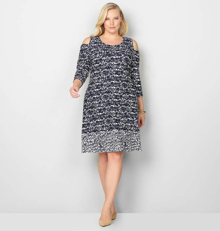 Abstract Cold Shoulder A-Line Dress