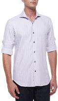 Bogosse Plaid Long-Sleeve Sport Shirt, Purple