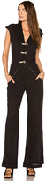 Vix Paula Hermanny Solid Flaire Jumpsuit in Black. - size S (also in )