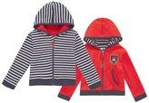 Jo-Jo JoJo Maman Bebe Zip-Up Hoodie (Baby) - Navy/Ecru Stripe-12-18 Months