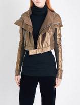 Rick Owens Cropped metallic-leather biker jacket