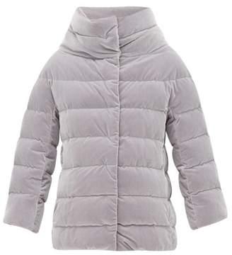 Herno High Neck Padded Velvet Jacket - Womens - Light Grey