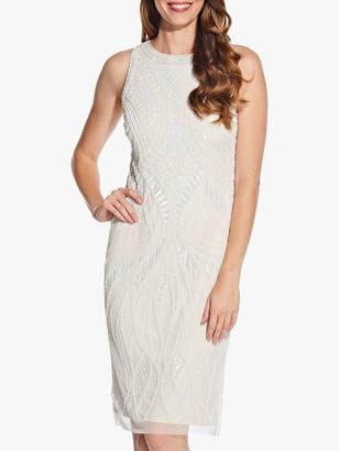 Adrianna Papell Bead Halter Sheath Dress, Ivory/Pearl