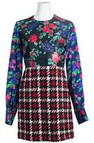 Alaia Msgm Womens Multicolored Wool Blend Mixed Materials Dress.