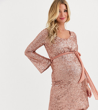 Queen Bee Maternity sequin skater dress with belt in rose gold