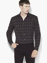 John Varvatos Rolled Sleeve Button-Up Plaid Shirt