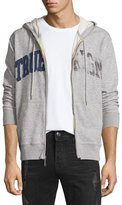 True Religion Distressed-Logo Zip-Up Hoodie, Heather Gray