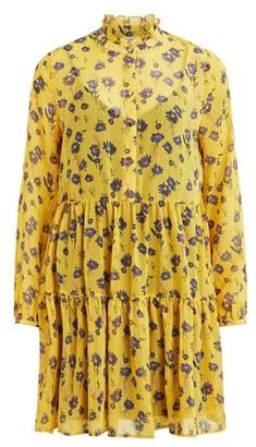 Dorothy Perkins Womens Vila Yellow Floral Print Ruffle Skater Dress, Yellow