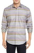 Thomas Dean Classic Fit Shadow Stripe Sport Shirt
