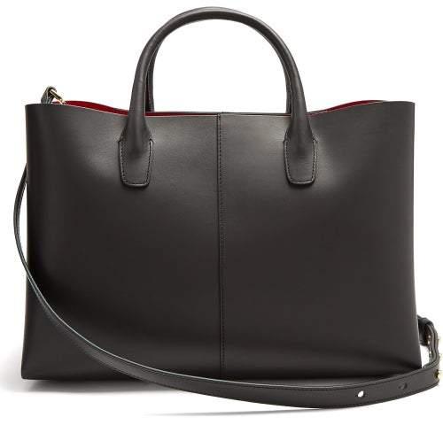 Mansur Gavriel Folded Red Lined Leather Bag - Womens - Black