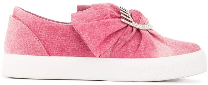 Chiara Ferragni denim bow slip-on sneakers