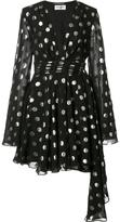 Saint Laurent polka dot asymmetric dress - women - Silk/Polyester - 36