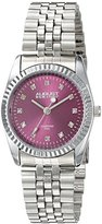 August Steiner Women's AS8170PK Silver Quartz Watch with Hot Pink Dial and Silver Bracelet