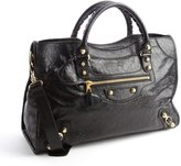 Balenciaga black grained leather 'City' convertible satchel bag