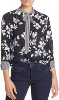 NYDJ Striped & Floral Print Tied Neck Blouse