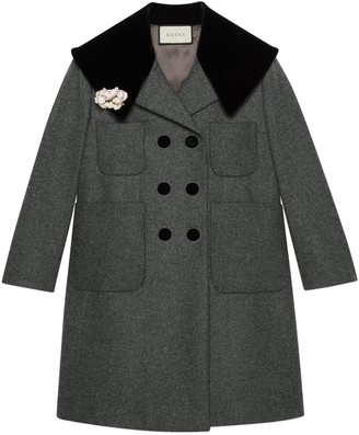 Gucci Wool coat with floral brooch