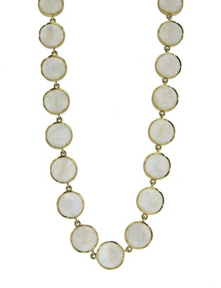 Irene Neuwirth 11mm Rainbow Moonstone Cabochon Yellow Gold Medium Classic Link Necklace