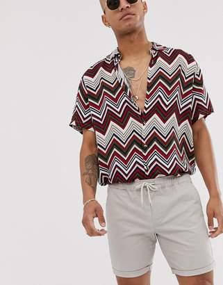 BEIGE Asos Design ASOS DESIGN slim chino shorts with elastic waist in