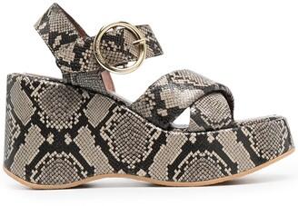 See by Chloe Lyna 100mm snake-print wedge sandals