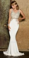 Nika V-Shape Fully Embellished Crystal Evening Dress with Sweep Train
